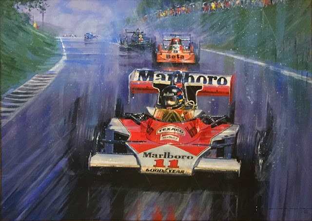 Grand Prix of Japan 1976 acrylic painting by Nicholas Watts, available at l'art et l'automobile.