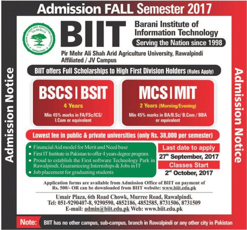 Admissions Open in Barani Institute of Information Technology - 2017
