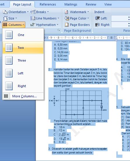 Membagi beberapa kolom dokumen microsoft word pada halaman tertentu