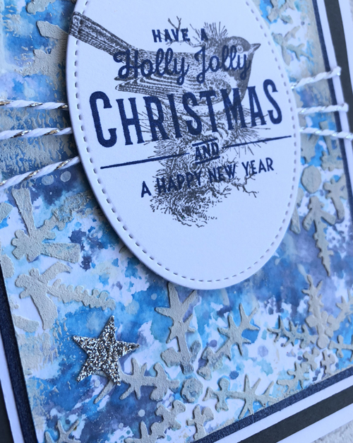 Christmas Cards with Tim Holtz Shifter Layering Stencils and Stampers Anonymous Festive Overlay stamp set.
