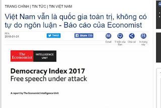 Báo cáo sai lệch của Economist về tự do ngôn luận ở Việt Nam