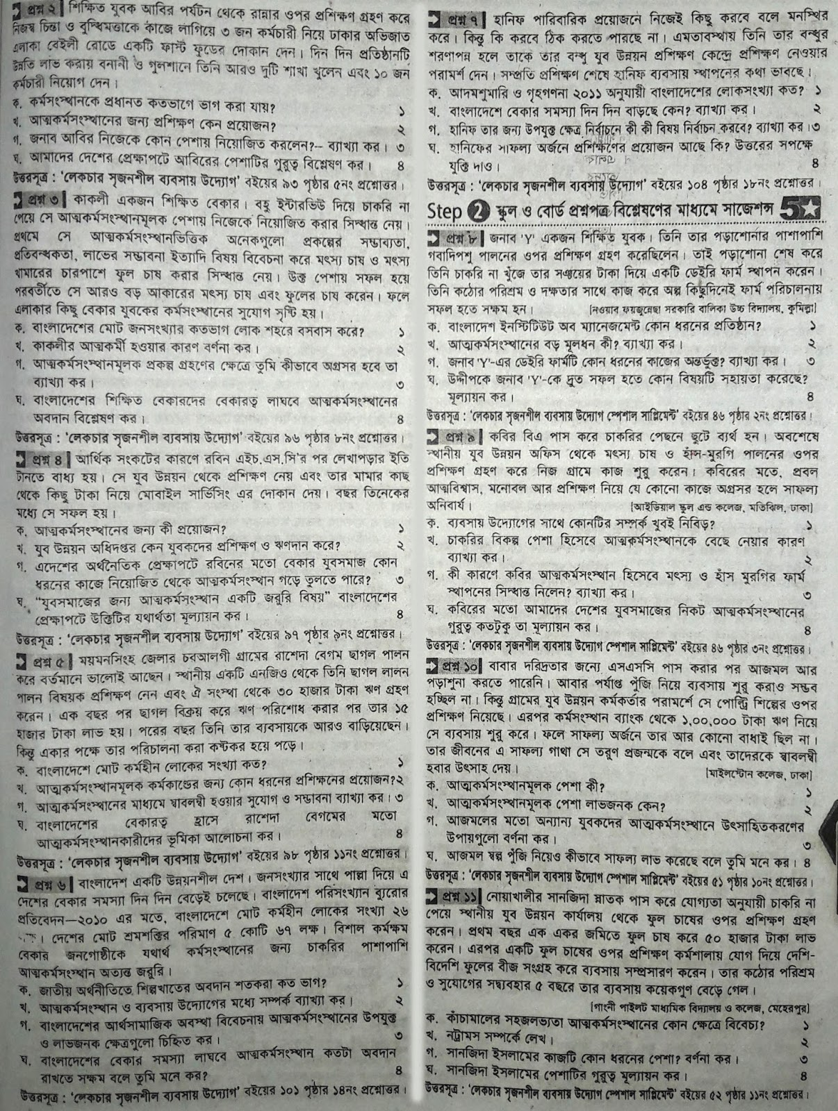 ssc Business Entrepreneurship suggestion, exam question paper, model question, mcq question, question pattern, preparation for dhaka board, all boards