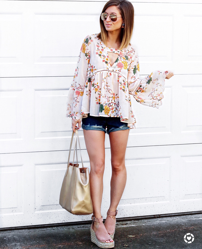 floral bell sleeve top, distressed jean shorts, pardon muah, fashion, style, blush espadrille