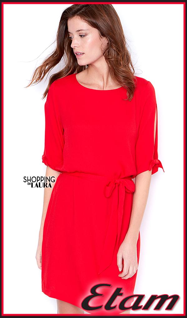 Robe courte fluide rouge Etam