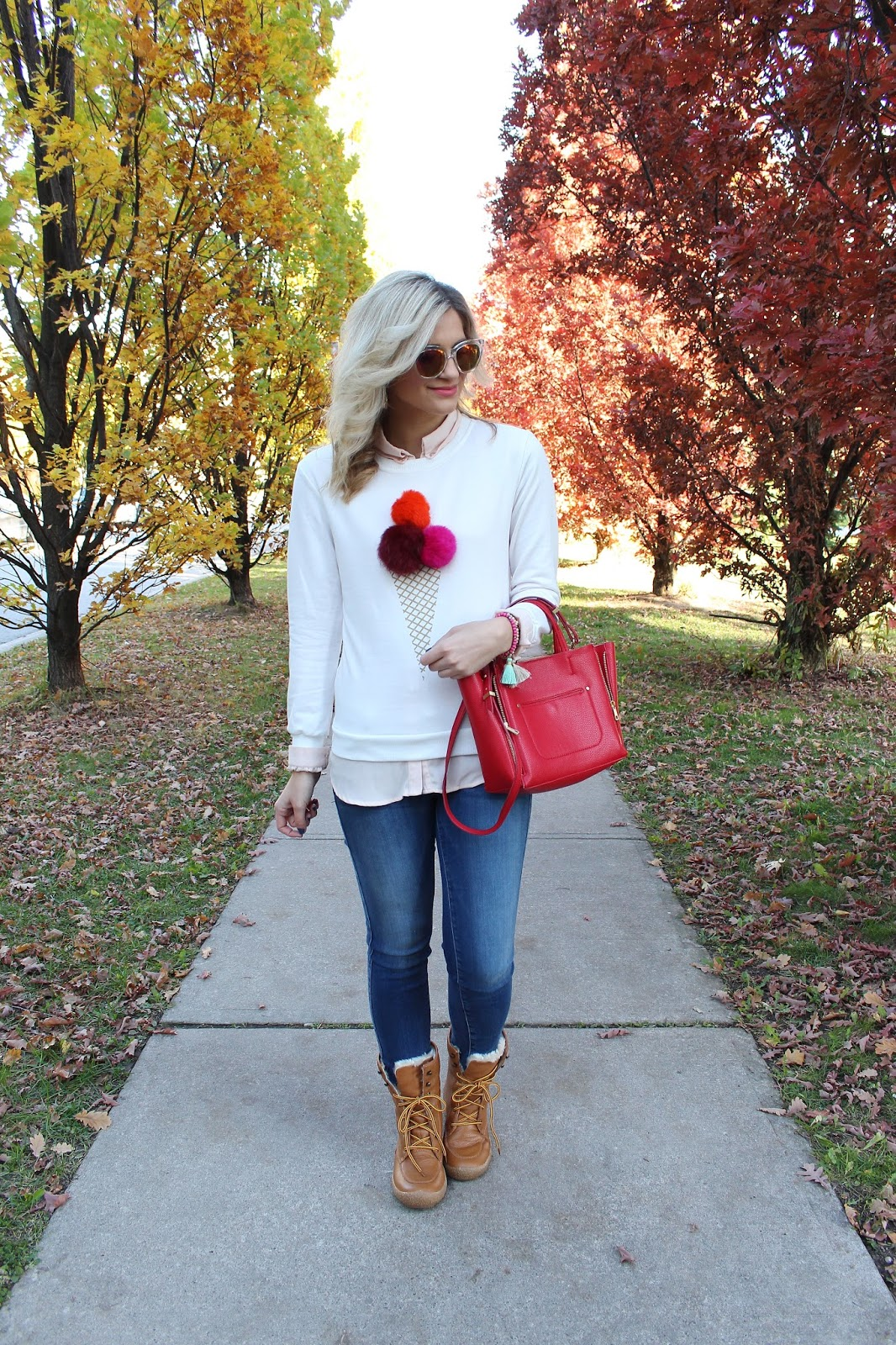 Bijuleni - Pom Pom Icecream Top and Fidelity Denim jeans with Cougar boots and Ann Taylor red tote