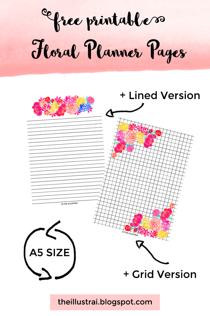 Download these pretty watercolor floral planner pages. These free printable planner pages are A5 size and come in a lined and grid version.