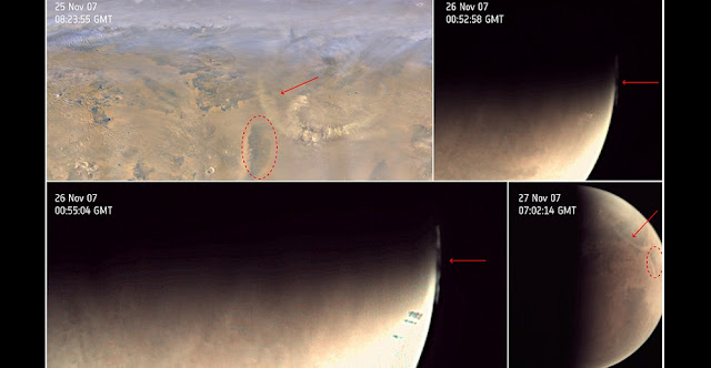 Example of dust clouds imaged by ESA's Mars Express Visual Monitoring Camera and NASA's Mars Reconnaissance Orbiter's Mars Colour Imager (MARCI) in November 2007 over the Utopia region. Arrows indicate the dust front in each image. Credit: MARCI: NASA/JPL/MSSS; VMC: ESA, CC BY-SA 3.0 IGO