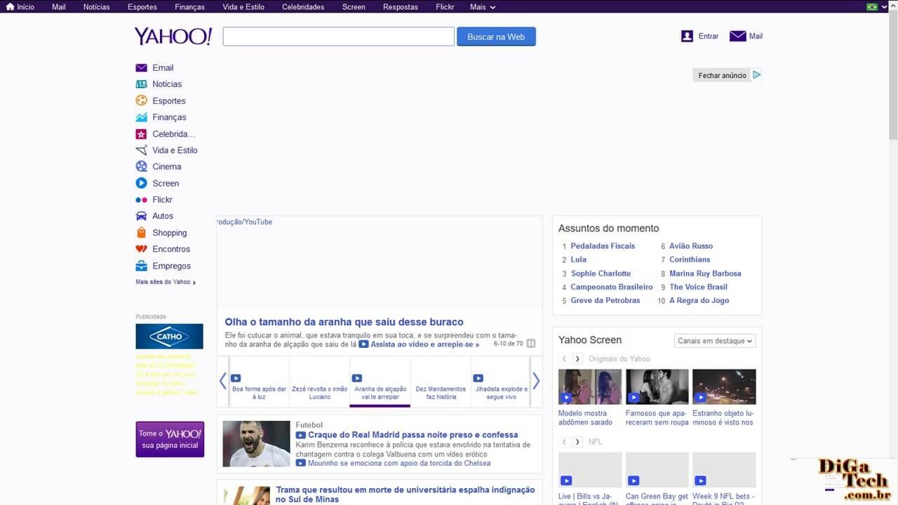 Página inicial Yahoo