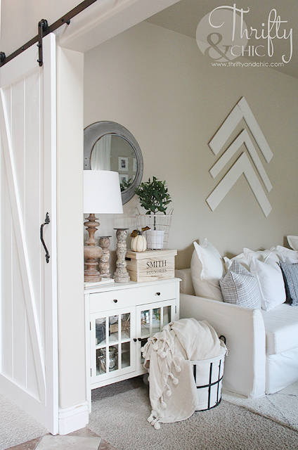 White living room decor and decorating ideas with DIY barn doors
