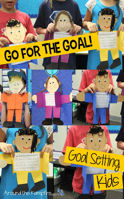 My students make these selfie style goal setting crafts the first week of school.  I dsiplay them all year and the kids revisit their goals at the end of the year!