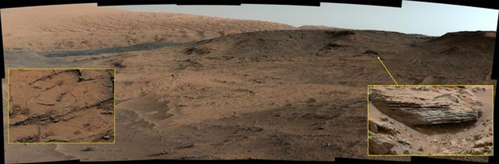 Fotos de rochas formadas por sedimentos de lama em Marte