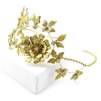 Złota opaska ślubna Flora Maxi