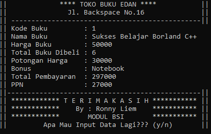 Contoh Program Sederhana Borland C++ - Penjualan Buku (Function Switch-Case Dan IF-Else)