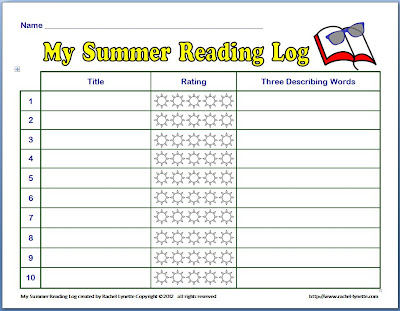 Classroom freebies summer reading log for Summer reading log template