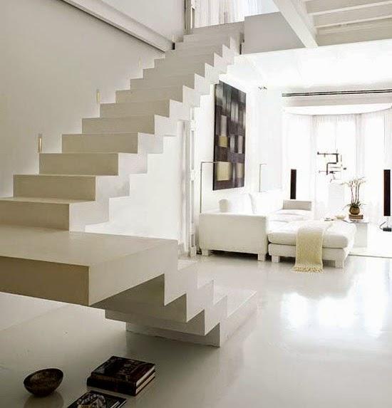 Construindo minha casa clean 30 salas decoradas com - Escaleras de duplex ...