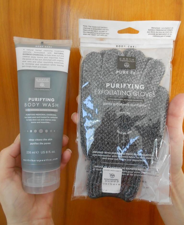 Earth Therapeutics Pro-Organic Purifying Body Care wash and gloves