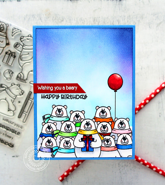 Sunny Studio Stamps: Playful Polar Bears Winter Themed Birthday Party Card by Vanessa Menhorn