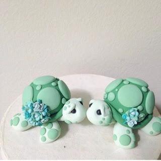 romantic turtles wedding cake topper
