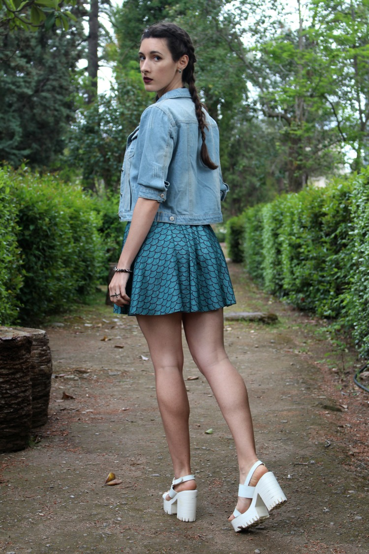 mermaid skirt, denim jacket, platforms, tumblr, grunge