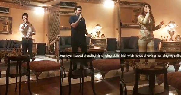 Humayun Saeed Mehwish Hayat And Farhan Saeed Singing At
