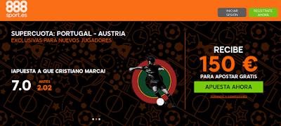 888sport bienvenida 150 euros + supercuota 7 Ronaldo marca Portugal vs Austria 18 junio