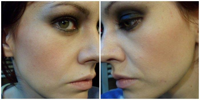 Maquillaje smokey negro con purpurina