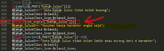 baris script yang membuat function error