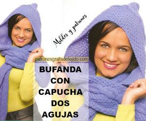 Cómo Tejer una Bonita Bufanda con Capucha en Dos Agujas / Tutorial