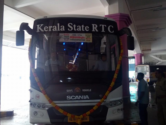 kerala rtc launched a trial bus of scania