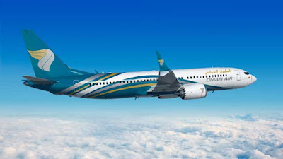 Source: Oman Air. A Boeing 737-800 in Oman Air livery.