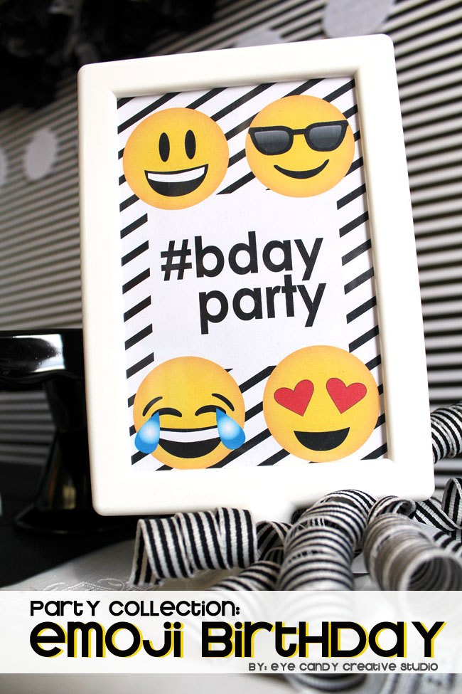 emoji birthday party, emoji birthday printables, emoji party collection