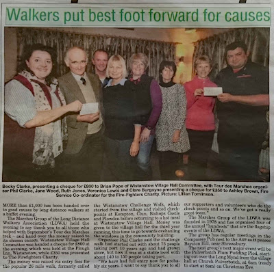 Image of cheque presentation press report from The Journal