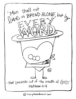 "Matthew 4:4 ""man does not live on bread alone"" printable coloring pages"
