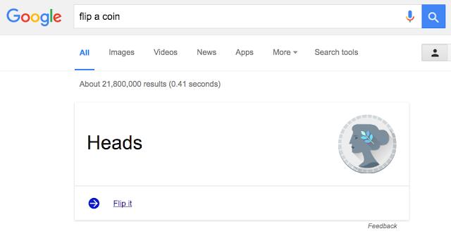 Google Easter Eggs - flip a coin