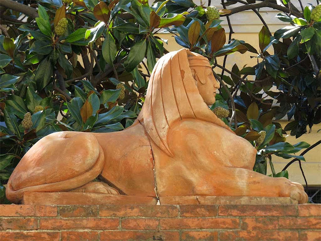 Terracotta sphinx, via Mayer, Livorno