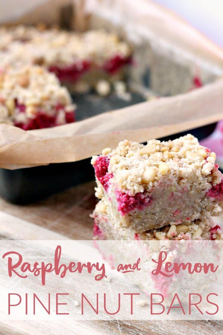 Raspberry Lemon and Pine Nut Bars