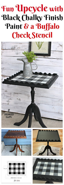 Garage Sale Pedestal Table Upcycle with Paint & Stencils organizedclutter.net