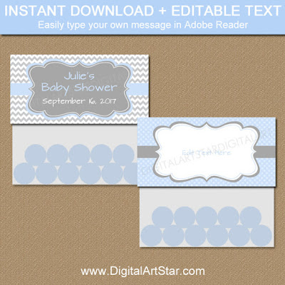 blue and gray baby shower candy bag labels