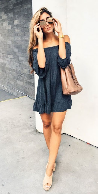 Off-the-Shoulder-Short-Gray-Dress