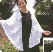 Capa con cuello blanca a Crochet