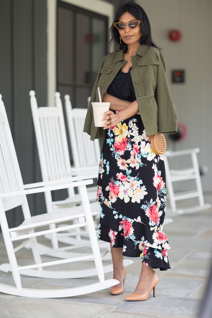 summer style, utility jacket, peplum, summer jacket, floral print, midi skirt, loft, urban outfitters, petite fashion, new england travel, north shore boston