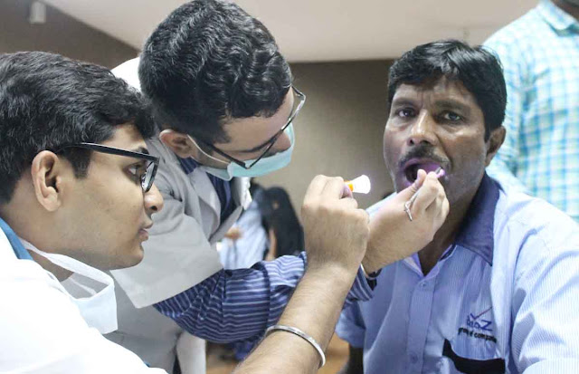 Oral Cancer Detection Camp on Head and Neck Cancer Day in Human Composition
