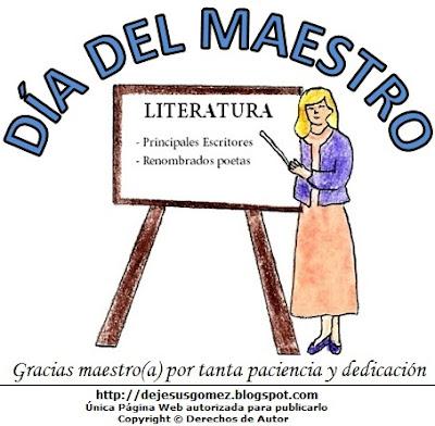 Imagen alusivo al Dia del Maestro o profesor para niños  (Maestra o profesora de literatura en su pizarra) hecho por Jesus Gómez