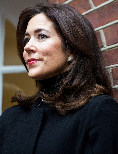 Crown Princess Mary wears Zara vest, cape coat, Gianvito Rossi shoes,  Crown Princess wore Marianne Dulong pearl jewels earrings