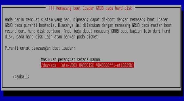 Instalasi Debian - Memilih piranti pemasangan boot loader
