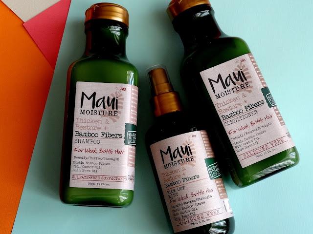Maui Moisture Thicken & Restore + Bamboo Fibers Shampoo, Conditioner & Blow OUt Mist
