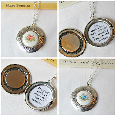 image botanical literature range necklace locket floral vintage quote mary poppins jane austen pride and prejudice silver jewellery jewelry two cheeky monkeys etsy