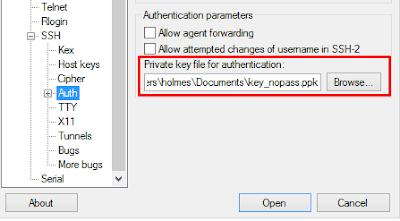 Memasukkan private key ssh yang sudah disimpan sebelumnya