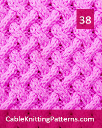 Cable Knitting 38. Mutilple of 8 stitches, plus 2,  techniques used: 2/2 right cross, 2/2 left cross, 2/1 right purl cross, 2/1 left purl cross.