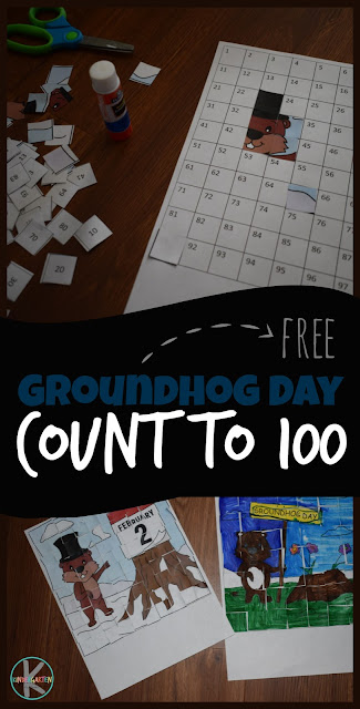FREE Groundhog Day Count to 100 Printables! So many fun, clever activities for practicing counting including strip puzzles and these adorable cut and paste puzzles that practice counting to 20, counting to 100, and so much more! Perfect math worksheets for preschool, kindergarten, and first grade at home preschool, math centers, homeschool, and more. #groundhogday #countot100 #hundredschart #kindergarten #preschool #kindergartenmath #freeworksheets #worksheetsforkids #kindergartenworksheetsforkids